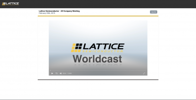 Townhall webcast for Lattice Semiconductor