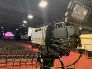 ICV video camera at the workday townhall meeting