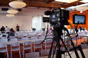 Video camera on location shooting Corporate video